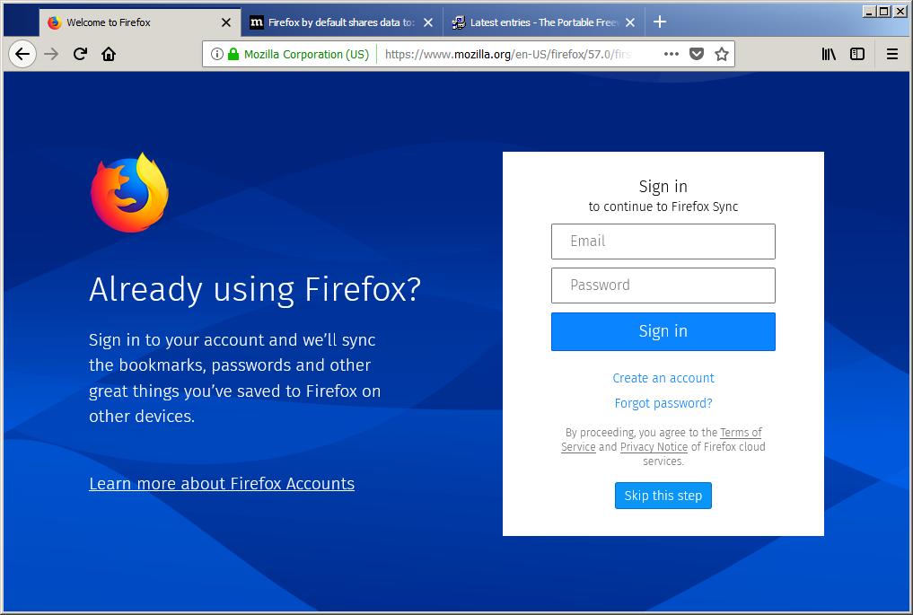 Mozilla Firefox 56 Portable